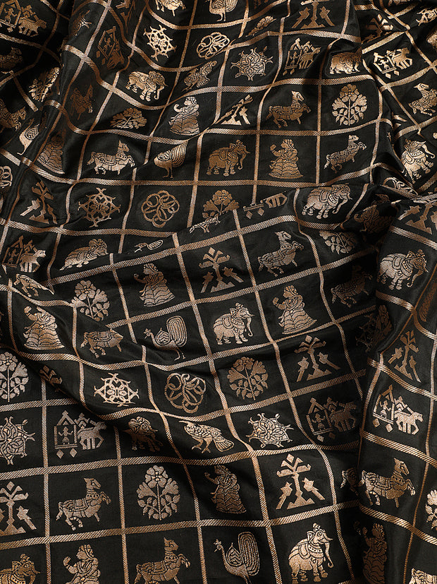 Signoraa Black Banarasi Pure Silk Unstitched Fabric-PMT011103- View 2