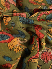 Signoraa Green Kalamkari Silk Unstitched Fabric-PMT011684B - View 2