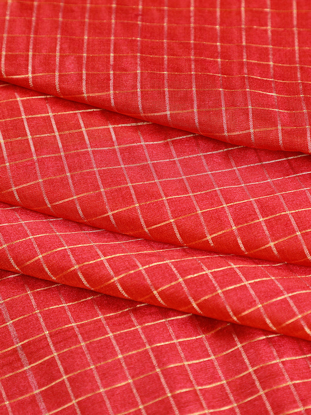 Signoraa Shot Pink Tussar Silk Unstitched Fabric-PMT011154- View 1