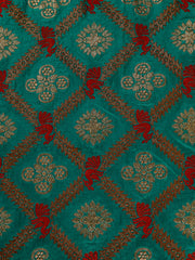Signoraa Teal Blue Banarasi Silk Unstitched Fabric-PMT010660- View 3