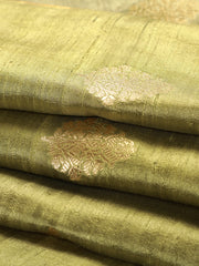 Signoraa Pastel Green Banarasi Raw Silk Unstitched Fabric-PMT010927-View 1