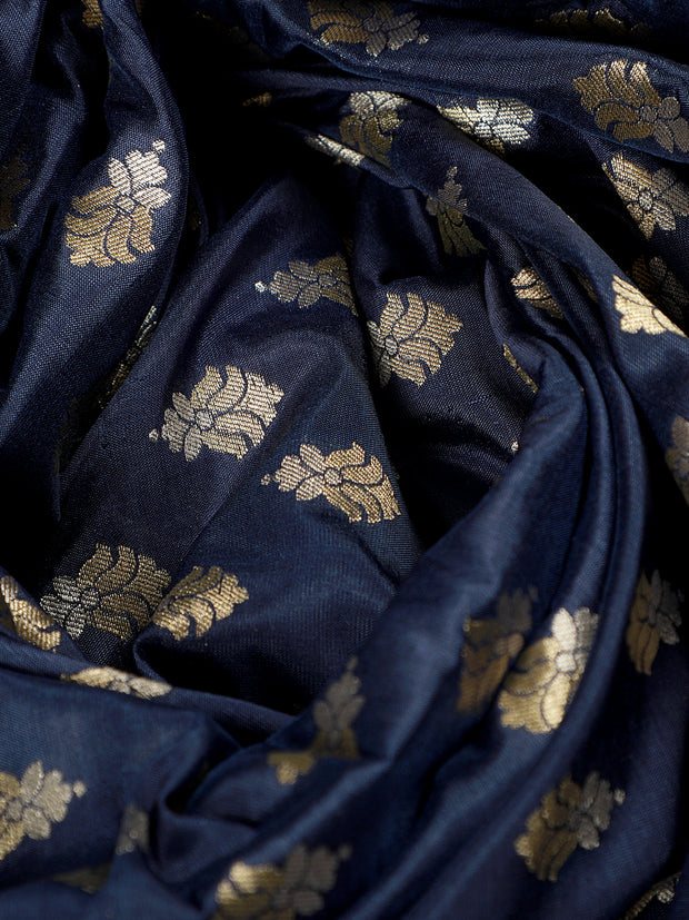 Signoraa Navy Blue Banarasi Silk Unstitched Fabric-PMT011610-View 3