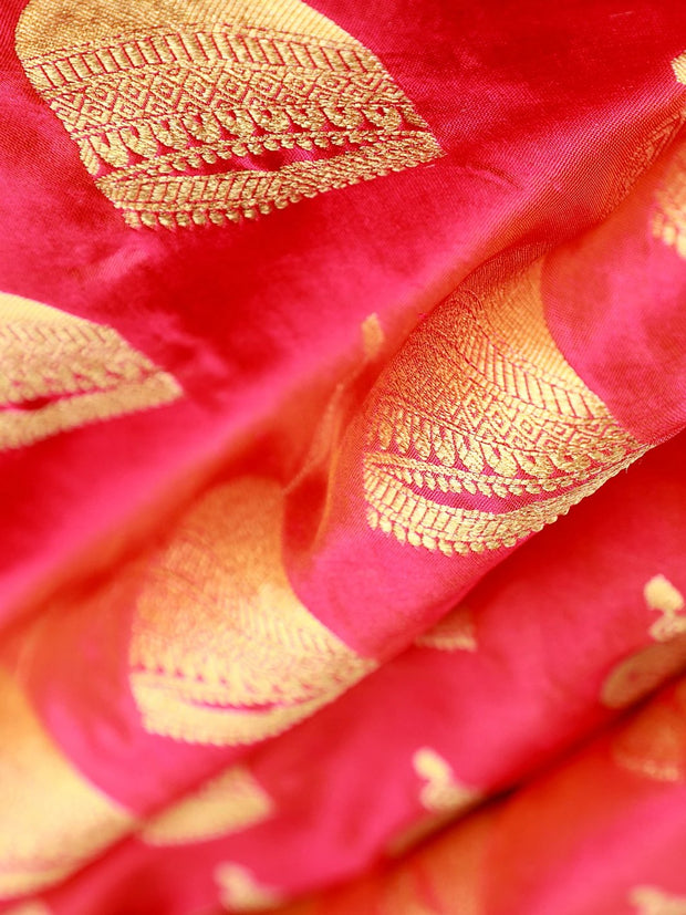 Signoraa Pink Banarasi Pure Silk Unstitched Fabric-PMT010294- View 1