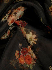 Signoraa Black Organza  Unstitched Fabric-PMT011500- View 2