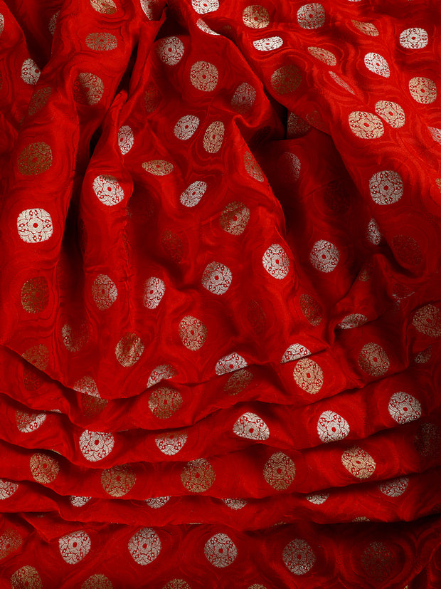Signoraa Red Banarasi Pure Silk Unstitched Fabric-PMT011618- View 2
