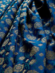 Signoraa Royal Blue Banarasi Silk Unstitched Fabric-PMT011482- View 1