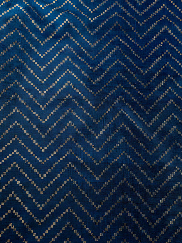 Signoraa Navy Blue Banarasi Pure Silk Unstitched Fabric-PMT011691A- View 3