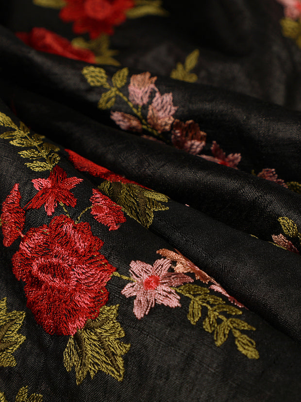Signoraa Black Tussar Silk Unstitched Fabric-PMT10854- View 1