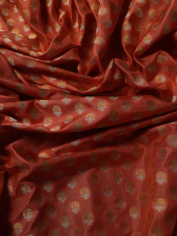 Signoraa Peach Banarasi Pure Silk Unstitched Fabric-PMT011625- View 2