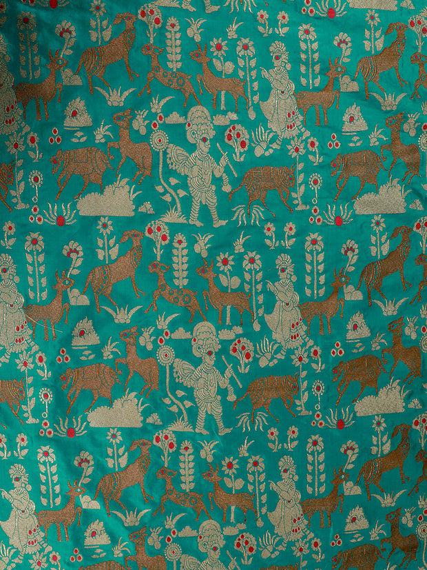 Signoraa Teal Blue Banarasi Silk Unstitched Fabric-PMT010110- View 2