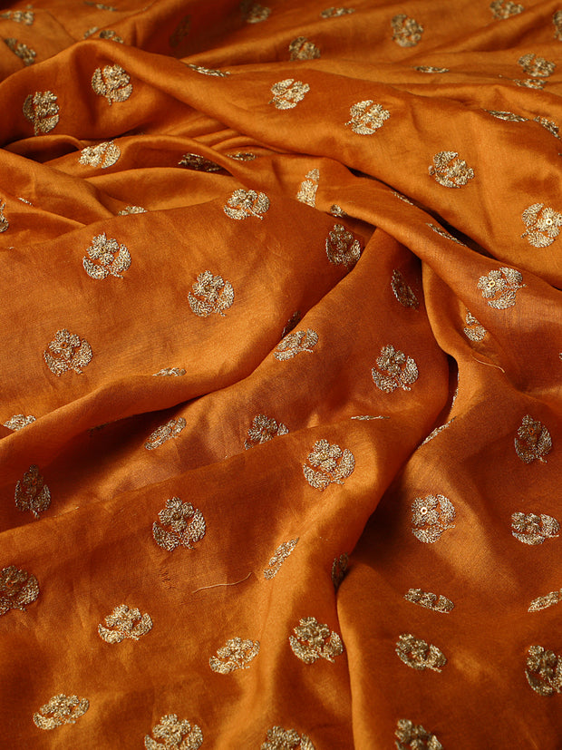 Signoraa Mustard Chanderi Unstitched Fabric-PMT011263- View 2