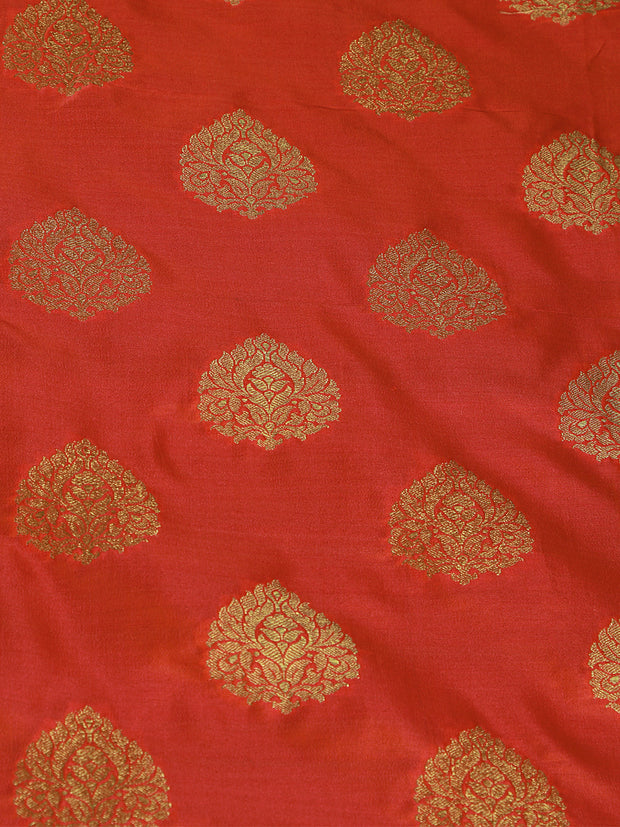 Signoraa Shot Peach Banarasi Unstitched Fabric-PMT011132- View 3