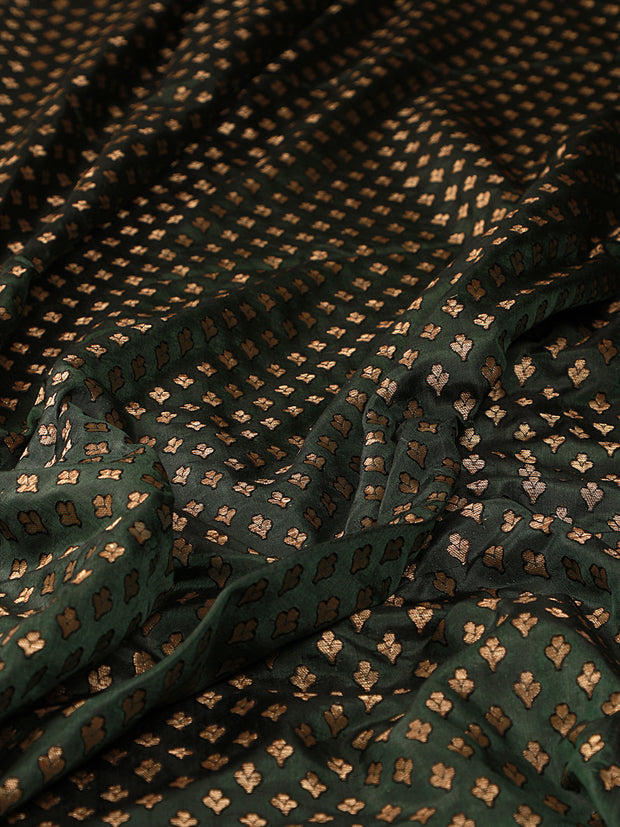 Signoraa Bottle Green Banarasi Pure Silk Unstitched Fabric-PMT011079- View 2