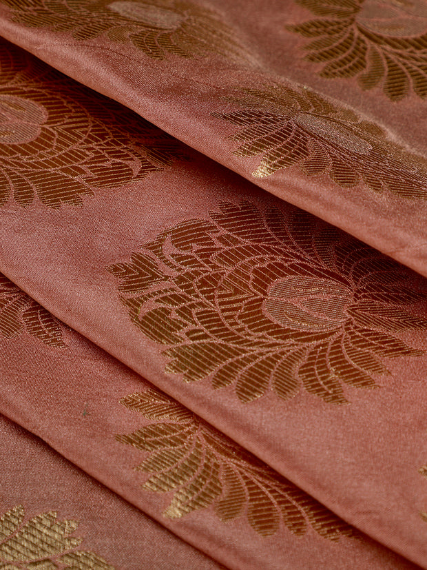 Signoraa Onion Pink Banarasi Silk Unstitched Fabric-PMT010042- View 1
