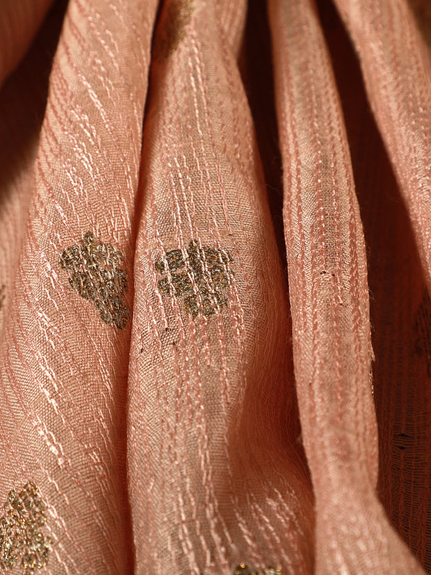 Signoraa  Light Pink Banarasi Dupion Silk Unstitched Fabric-PMT011641- View 3