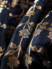 Signoraa Navy Blue Banarasi Silk Unstitched Fabric-PMT010908C- View 1