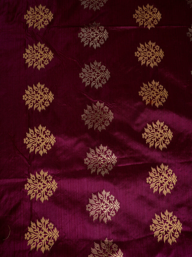 Signoraa Purple Banarasi Silk Unstitched Fabric-PMT010948- View 3