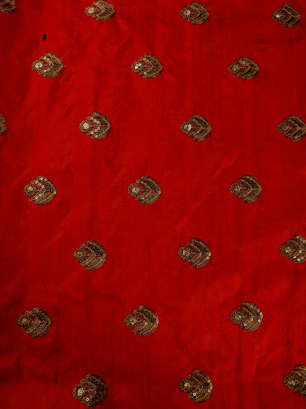 Signoraa Red Banarasi Raw Silk Unstitched Fabric-PMT010843 - View 2