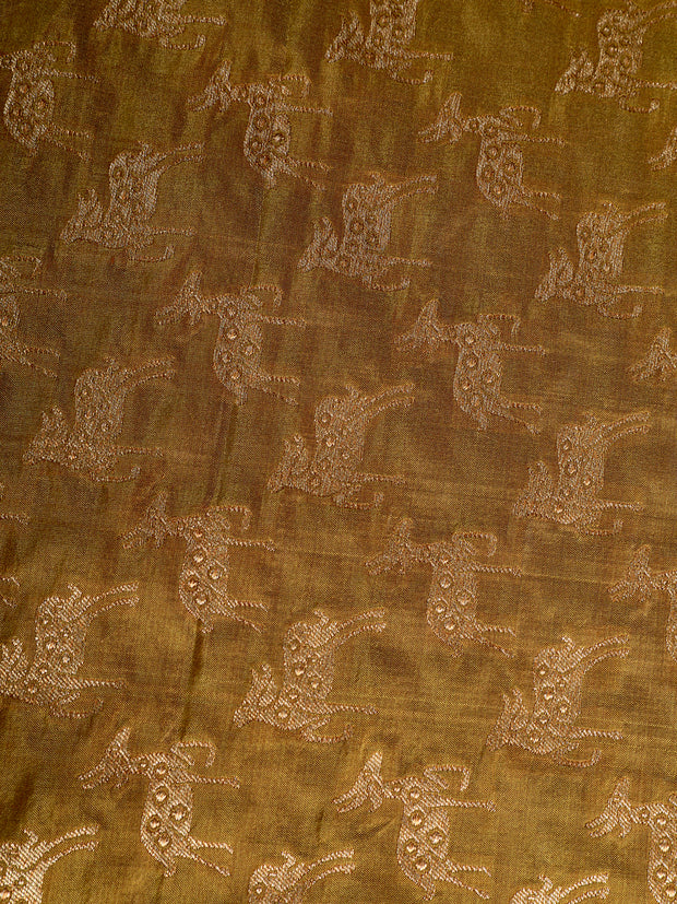 Signoraa Olive Green Banarasi Pure Silk Unstitched Fabric-PMT010073- View 2