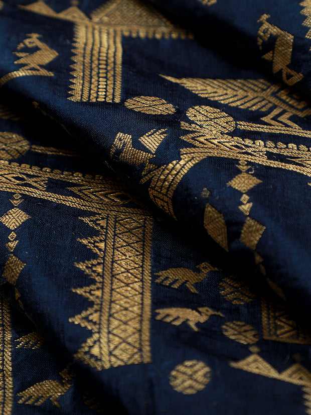 Signoraa Navy Blue Banarasi Silk Unstitched Fabric-PMT011173- View 1