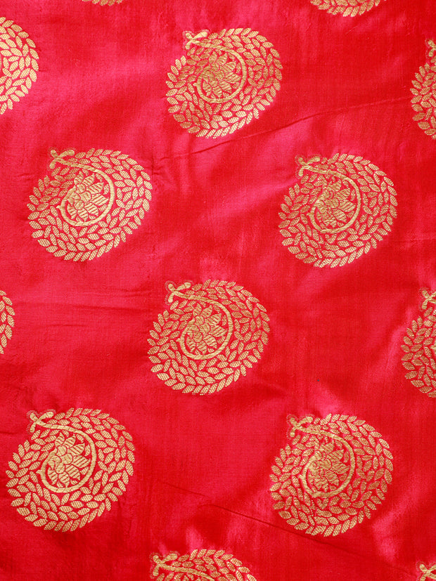 Signoraa Pink Banarasi Pure Silk Unstitched Fabric-PMT011171-View 3