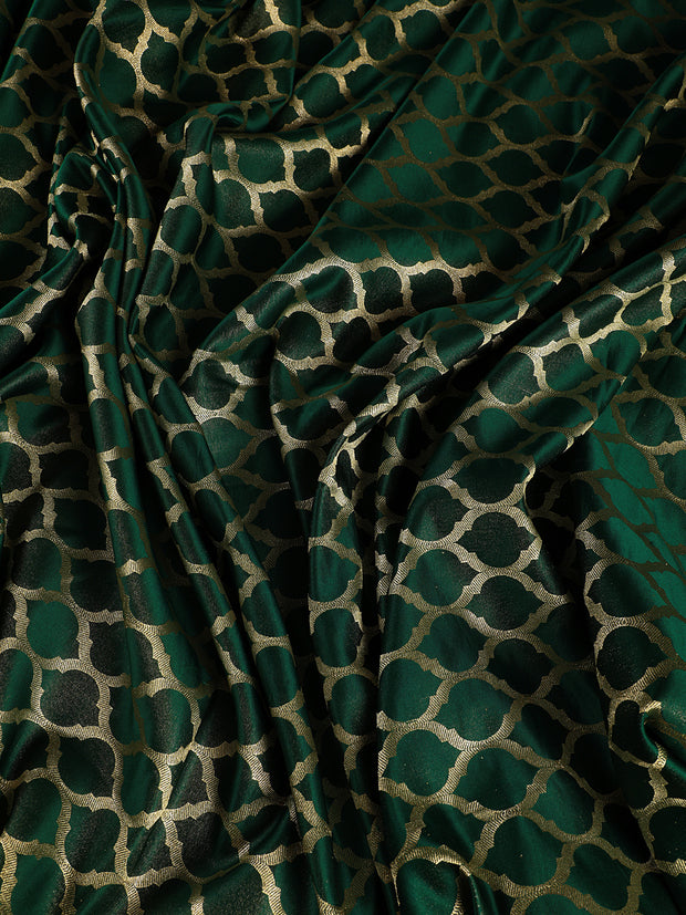 Signoraa Bottle Green Banarasi Silk Unstitched Fabric-PMT010979- View 1