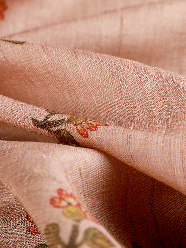 Signoraa Pink Tussar Tissue Unstitched Fabric-PMT010997