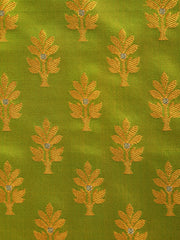 Signoraa Parrot Green Banarasi Tanchoi Silk Unstitched Fabric-PMT010906 A- View 3