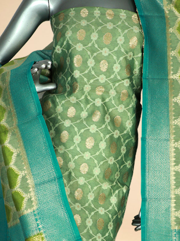 Signoraa Green Chanderi Unstitched Salwar Suit-SMS08064- View 2