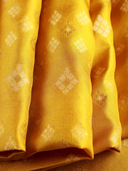 Signoraa Lemon Green Banarasi Pure Silk Unstitched Fabric-PMT011691D- View 1