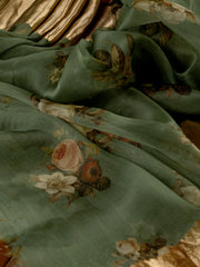 Signoraa Dull Green Organza Silk Unstitched Fabric-PMT011462- View 2