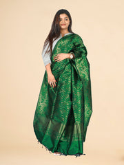 Signoraa Bottle Green Banarasi Silk Dupatta-PDU01077- View 1