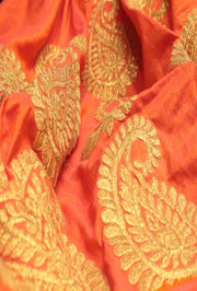 Signoraa Orange Semi Raw Silk Unstitched Fabric -PMT05057- View 1