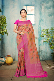 SIGNORAA PEACH BANARASI SILK SAREE-BSK06915 - View 1