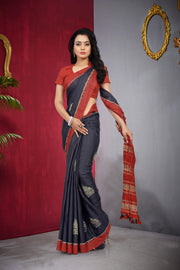 SIGNORAA NAVY BLUE TUSSAR SILK SAREE-PTS04330 - VIEW 1
