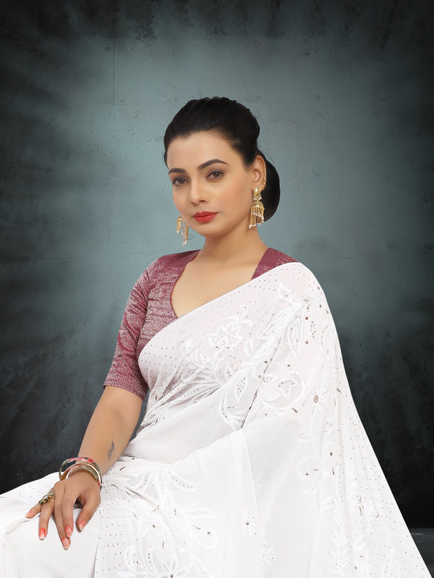 SIGNORAA WHITE GEORGETTE SILK SAREE-EMB02823 -VIEW 2