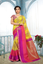 SIGNORAA LEMON YELLOW KANCHIPURAM SOFT SILK SAREE-KSL02523 B-View 1