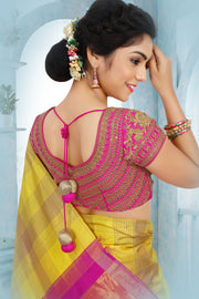 SIGNORAA LEMON YELLOW KANCHIPURAM SOFT SILK SAREE-KSL02523 B- View 2