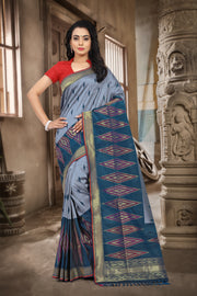 SIGNORAA NAVY BLUE BANARASI GEORGETTE SILK SAREE-BSK07198 - View 1