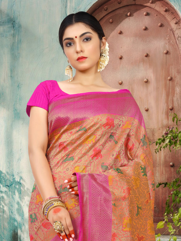 SIGNORAA PEACH BANARASI SILK SAREE-BSK06915 - View 2