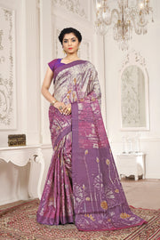SIGNORAA MAGENTA PRINTED TUSSAR SILK SAREE-PTS04341 - VIEW 1