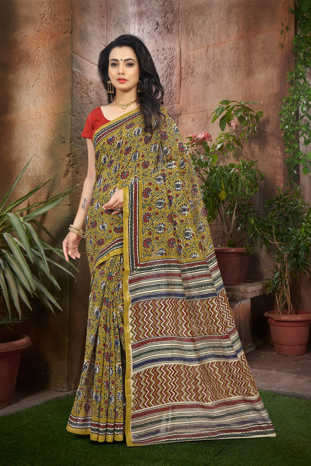 SIGNORAA MUSTARD FANCY CHANDERI COTTON SAREE-FCT08817 - VIEW 1