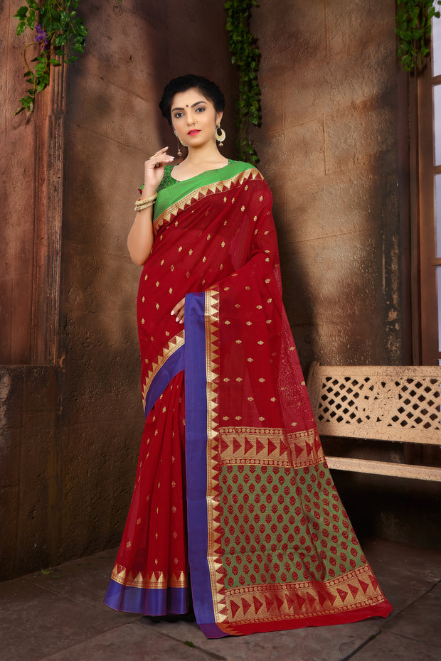 SIGNORAA RED SILK COTTON SAREE-CCC01431B - VIEW 1