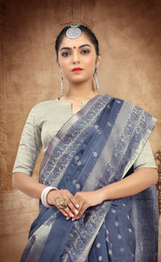 SIGNORAA BLUE KANCHIPURAM SOFT SILK SAREE-KSL02401- View2