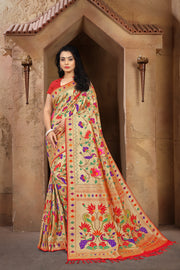 SIGNORAA RED PAITHANI SEMI SILK SAREE-PTN00122 - VIEW 1