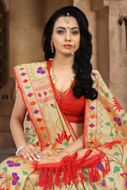 SIGNORAA RED PAITHANI SEMI SILK SAREE-PTN00122 - VIEW 2