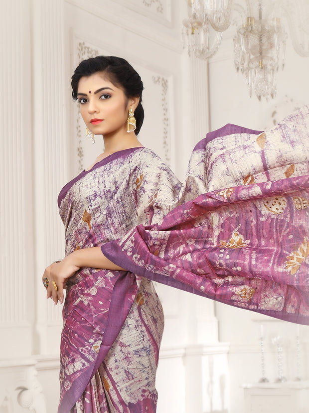 SIGNORAA MAGENTA PRINTED TUSSAR SILK SAREE-PTS04341 - VIEW 2