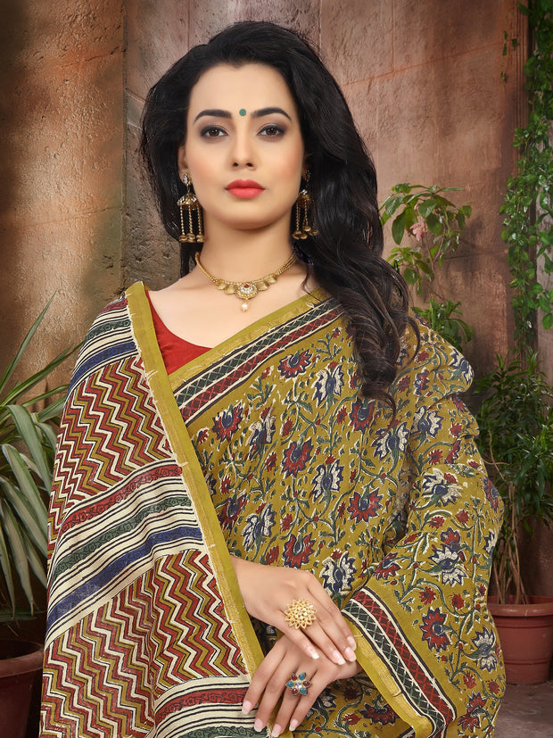 SIGNORAA MUSTARD FANCY CHANDERI COTTON SAREE-FCT08817 - VIEW 2