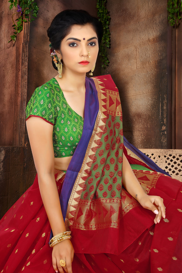 SIGNORAA RED SILK COTTON SAREE-CCC01431B - VIEW 2