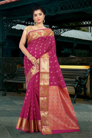 SIGNORAA RANI PINK SILK COTTON SAREE-CCC01431A-VIEW 1